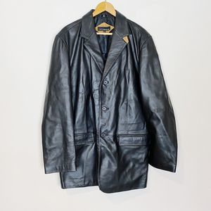 City Jones New York Leather Jacket Sport Coat